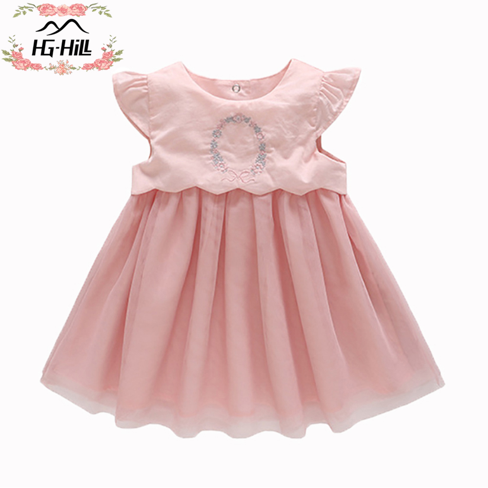 HG hill SS18 0033PK Princess dresses for girls children birthday party beautiful clothes wedding costumes baby boutique gown