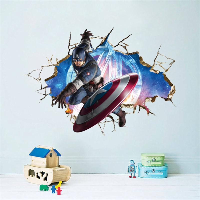 Мультфильм Капитан Мститель дома этикета стикер/Красивый мальчики любят Детская комната Декор ребенок подарки