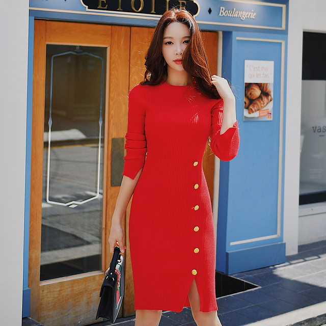 Dabuwawa Women Sexy Knitted Bodycon Dress Winter New Vintage Button Pencil  Dress Red Army Green Navy Holiday Dress D18DDR012