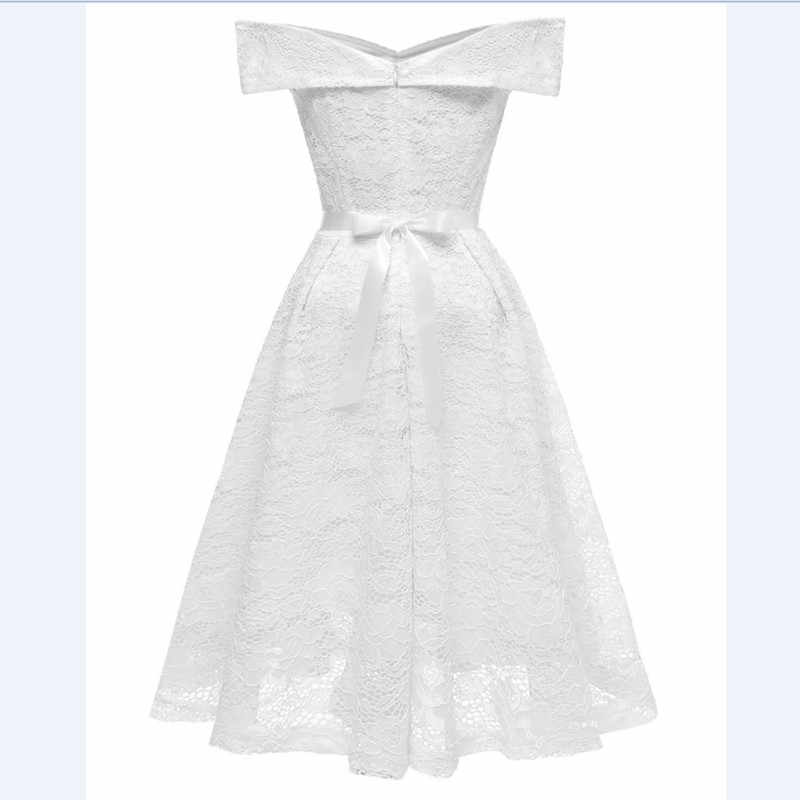 Cd1603b White Boat Neck Bow Lace Y