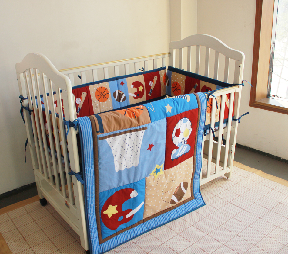 Baby quilts bed covers - Free Shipping Blue New Sports Pattern Baby Boy 3 Bedding Sets Early Childhood Stereo Crib 3