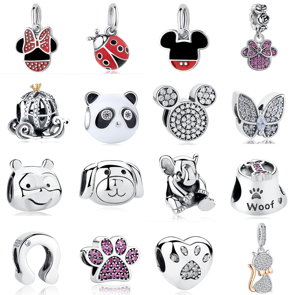 100% Authentic 925 Sterling Silver Mickey Minnie Clear CZ pesona manik Fit Asli Pandora Charm Gelang DIY Barang Kemas Perak