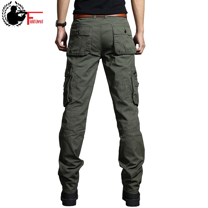 Summer Cargo Pants Men Military Style Straight Fit Baggy Cargo Long Trousers Male Side Many Pocket Jogger Black Army Green Khaki