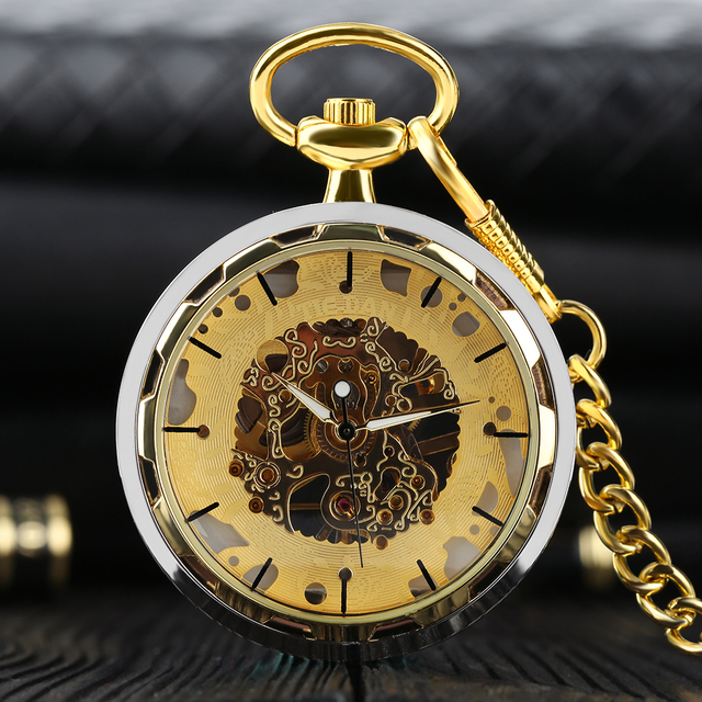 Vintage Mechanic Watch Pocket Steel Transparent Hollow Simple Fashion Retro Hand