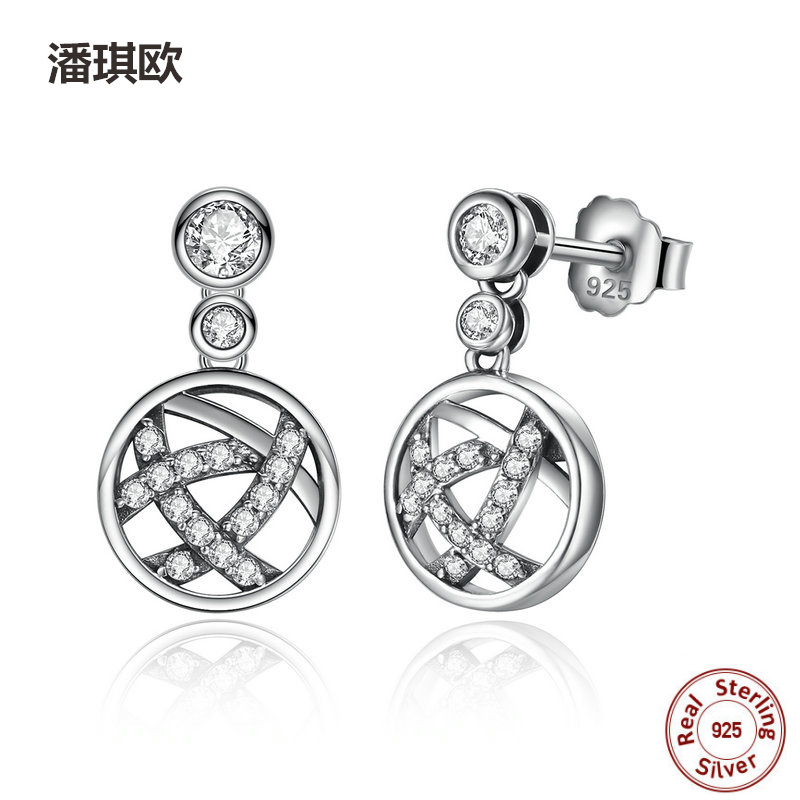New Round Shape 100% 925 Sterling Silver Openwork Female elegant Drop Earrings Compatible with pan Jewelery