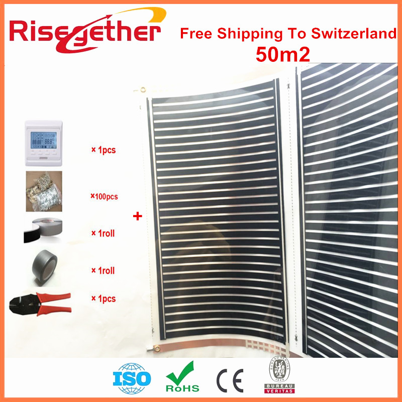 Free Shipping To Switzerland 50 Square Meter Heating Film With Accessories 220V 220W/m2 Carbon Infrared House/Floor Heating Film united kingdom free shipping 50 square meter infrared heating film with accessories under floor heating film 50cmx100m