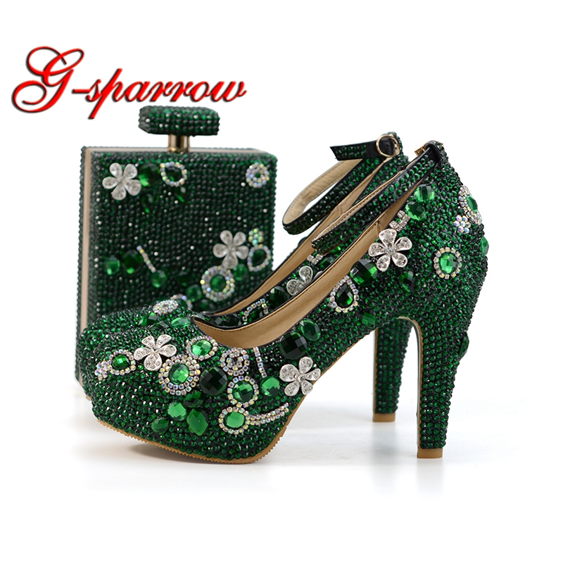 2018 Handmade Emerald Green Rhinestone Wedding Shoes With Matching Bag Fashion Thick Heel Party Prom Shoes Ankle Strap With Purs