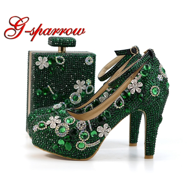 2018 Handmade Emerald Green Rhinestone Wedding Shoes with Matching Bag  Fashion Thick Heel Party Prom Shoes Ankle Strap with Purs 90768d7195d2