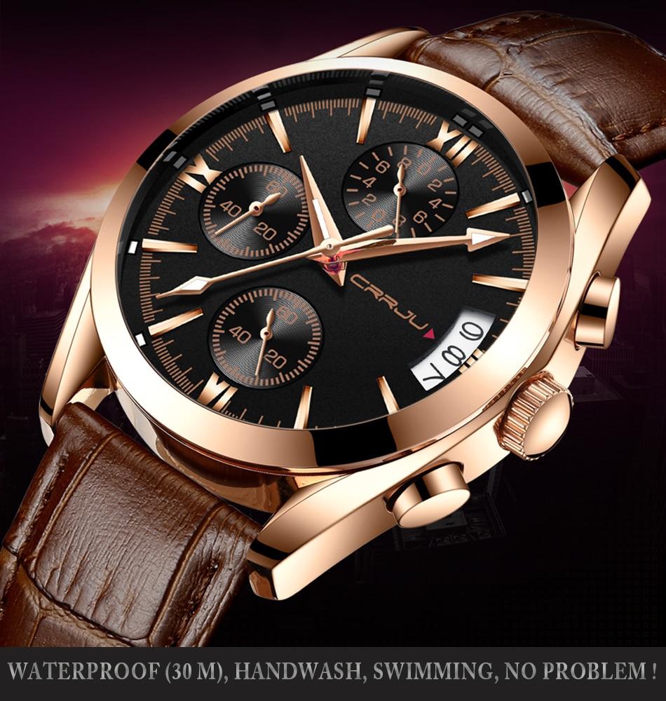 CRRJU Mens Chronograp Sport Relojes Luxury Quartz Gold Watch Hombres - Relojes para hombres - foto 5