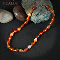 KCALOE Red Agate Handmade Necklace Women Fashion Jewelry Waterdrop Natural Stone Semi-Precious Stones Chokers Necklaces