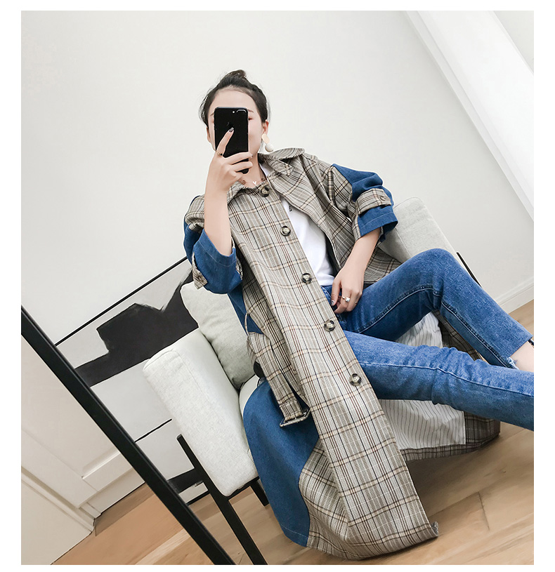Jeans Section vent Plaid Tranchée Denim Femme Coréen Nouveau Cowboy Coupe Longue Patckwork Chic Manteau BR7xUBa