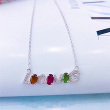 gemstone fine jewelry factory wholesale 925 sterling silver natural tourmaline charm pendant English letter necklace for female цена