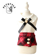 Pet Dog Clothes Black Red Grid England Bowknot Dress Summer Lovely Sleeveless Skirt Vest For Pets Chihuahua Teddy(China)