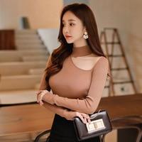 2018 Spring Long Sleeve Hollow Out Shirt Tops Women Elegant Office Lady Knit Wear Korean Style Slim Skinny Shirt