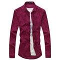 2017 de Verano Para Hombre Camisetas de Moda Rojo Y Negro Plaid Camisa de Los Hombres 12 Colores Camisas de Vestir de Manga Larga Camisa Casual Hombres Camisa Adolescente