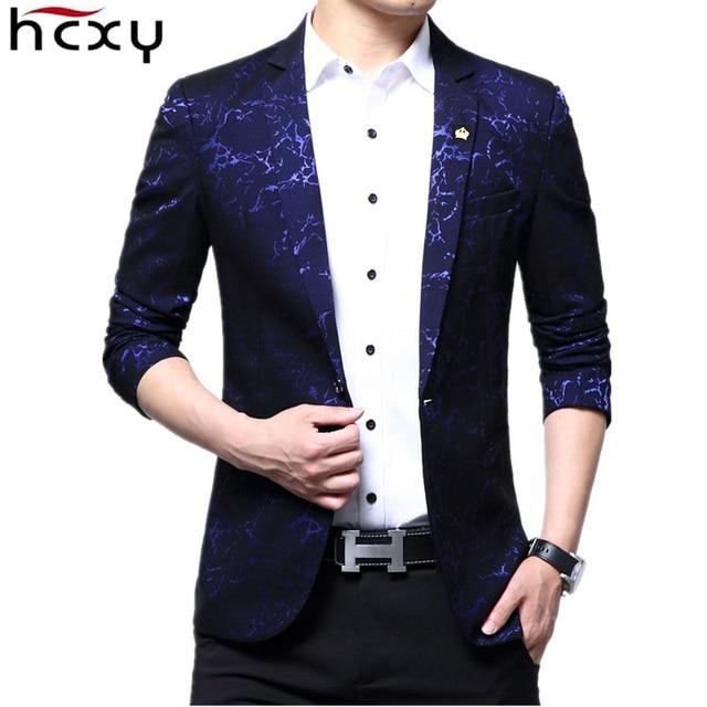 7d431cb58b2 HCXY Brand 2018 new blazer men s Wedding Jackets casual business suit men  printing Suit jacket Male blazers suits size M-3XL
