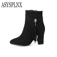 ASYSPLNX Brand 2018 Winter Metal Rhinestone Trimmed Pointed Toe Black Blue Women Ankle Boots Women Thick