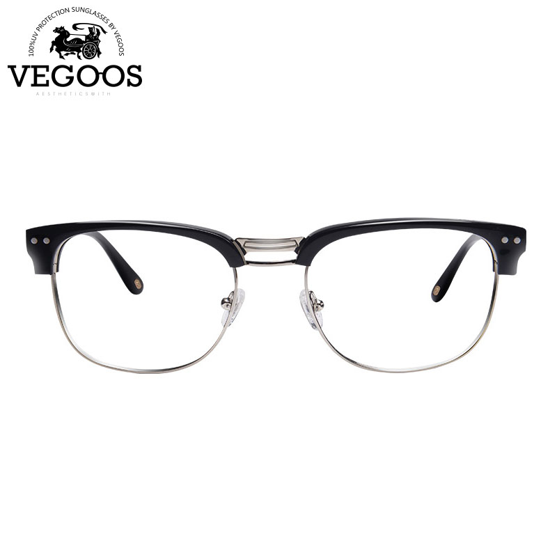 VEGOOS OCCHIALI Nuovi occhiali Da Vista telaio oculos de grau telaio senza montatura semi occhiali da vista da uomo di marca montatura per occhiali Miopia occhiali #5043