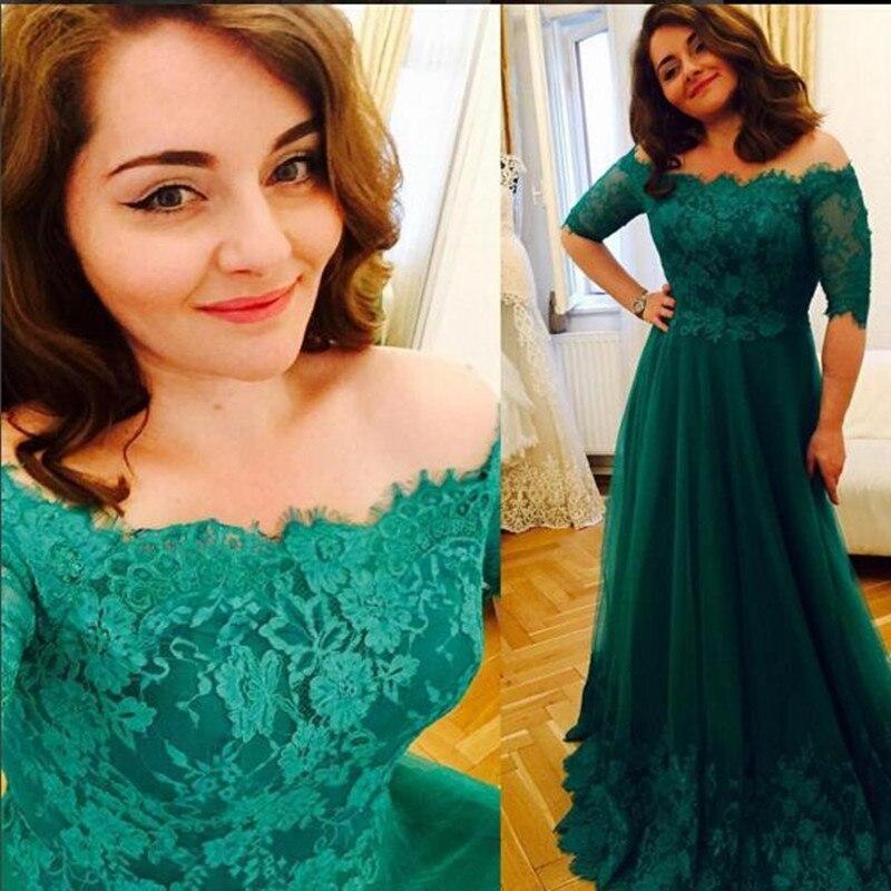 Vert demi manches une ligne dentelle robe de bal 2019 nouvelles Appliques de dentelle hors de l'épaule robe de soirée longue robe de Tulle robe de soirée