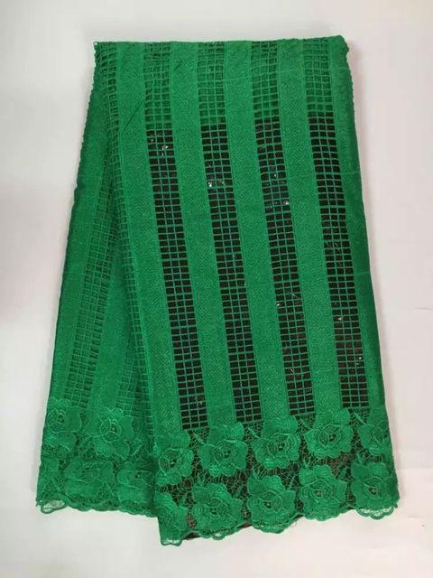 새로운 고품질 아프리카 수용성 인쇄 레이스 원단 여자 드레스, 녹색 Guipure 나이지리아 스위스 코드 레이스 5 야드/많은 (jy