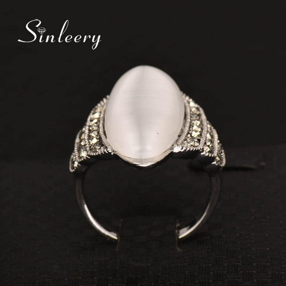 SINLEERY Vintage Big Opal Stone Shuttle Fingerringar för kvinnor - Märkessmycken - Foto 5