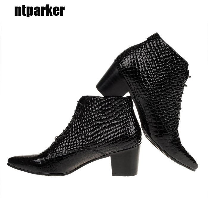 ntparker-6.5CM Heels British style Men Fashion boots Genuine Leather Pointed Toe Ankle boots Male elevator shoes, big size 46 serene handmade winter warm socks boots fashion british style leather retro tooling ankle men shoes size38 44 snow male footwear