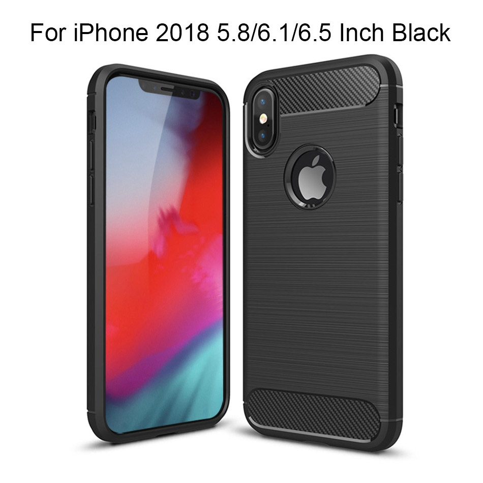 TOMKAS Phone Case Carbon Fiber Cover For iPhone XS Plus X 2018 5.8 6.1 6.5 Inch Soft TPU Silicon Case Protective Back Cover 2018 (15)