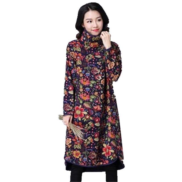 2017 últimas otoño invierno yardas grandes mujeres dress sexy mujer delgada dress cálido algodón de alta impresión de cuello largo manga larga dress ok24