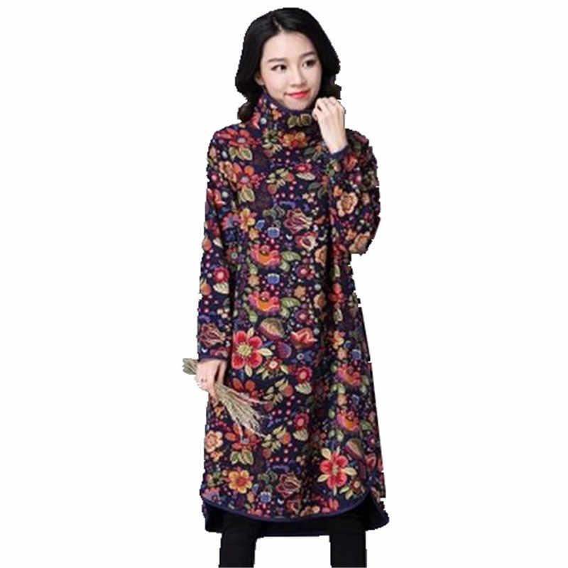 2018 новейшее осенне-зимнее женское платье пикантные Большие размеры тонкое женское платье теплое Хлопковое платье с высоким воротником и принтом с длинными рукавами OK24