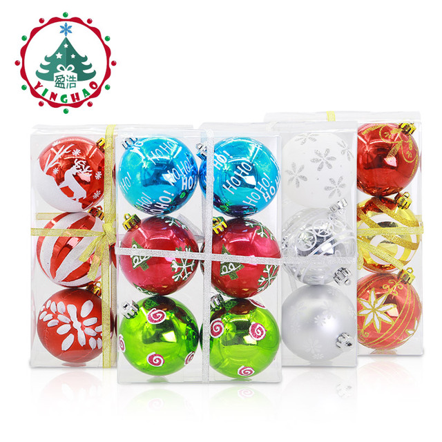 inhoo new 6pcs Merry Christmas Tree Decorations Hanging Balls 8cm Color Drawing Xmas Ball Gifts For Home Party Wedding Ornament