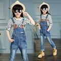 2017 весной и осенью мода классический детские джинсы девушки 4-13solid цвет промывают кожа стандарт пряжки ремня ремень брюки