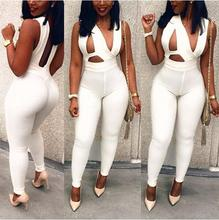sexy jumpsuits rompers white bandage bodycon jumpsuit romper sleeveless womens rompers jumpsuit