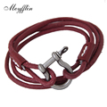 Meyfflin Men's Wrap Bracelets & Bangles 2017 Fashion PU Leather Bracelets for Women Female Multilayer Pulseira Masculina