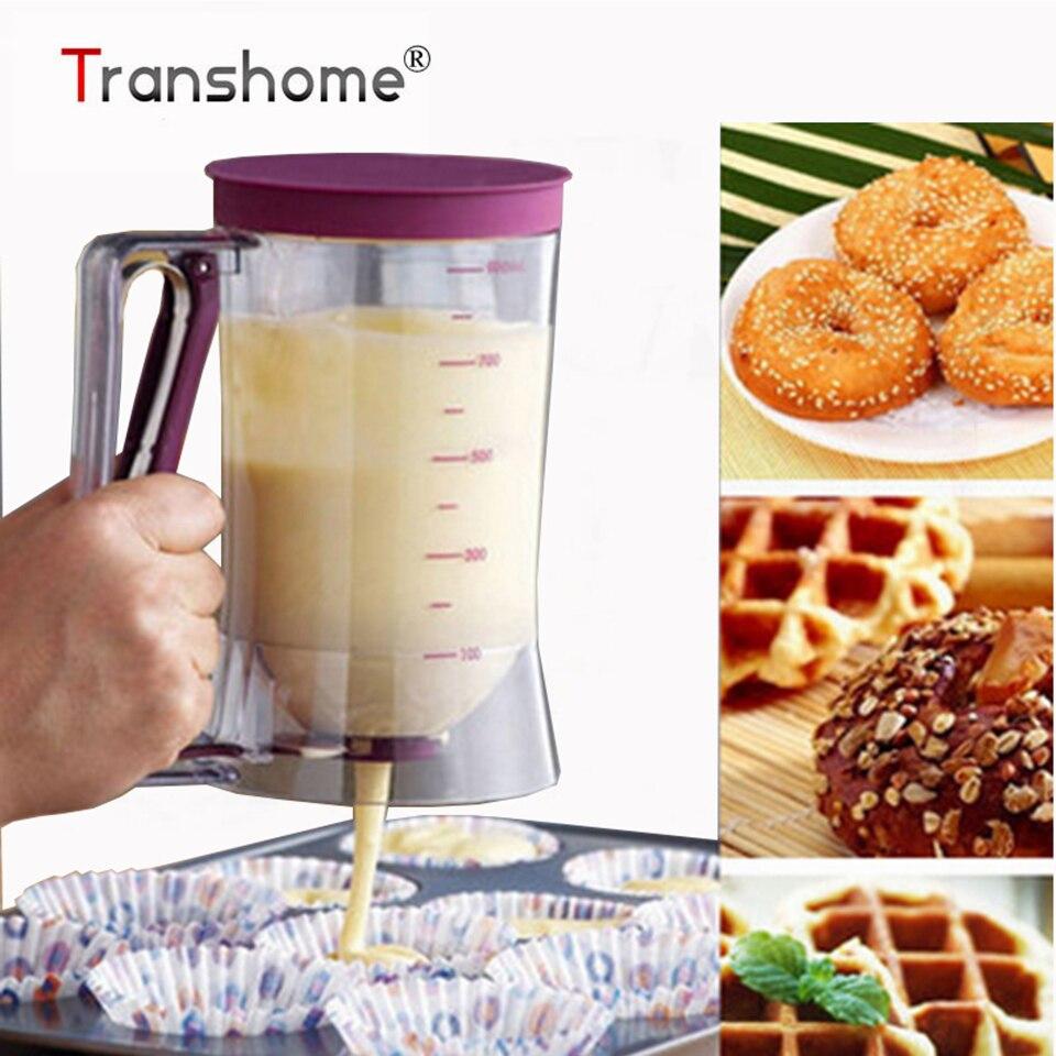 Transhome bateador dispensador de 900 ml de dispensador de DIY hornear pasteles de crema licuadoras de panqueques para hornear pasteles herramienta