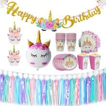 Unicorn Birthday Theme Decoration Headband Happy Banner Bunting Kids Party Favors Unicornio Balloons Supplies