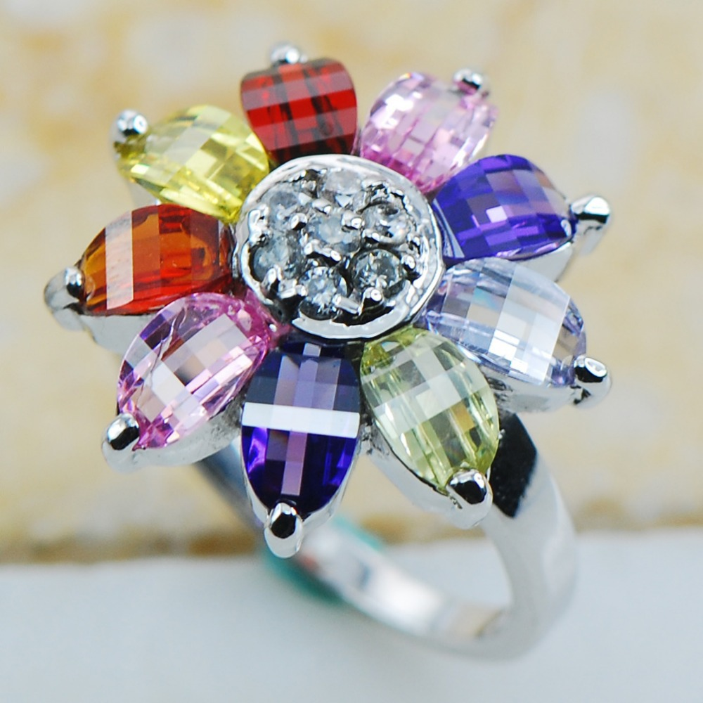 Peridot White Pink Crystal Zircon Purple Crystal Zircon Garnet 925 Sterling Silver Fancy Jewelry Ring Size 6.5 7.5 8.5 9.5 10.5