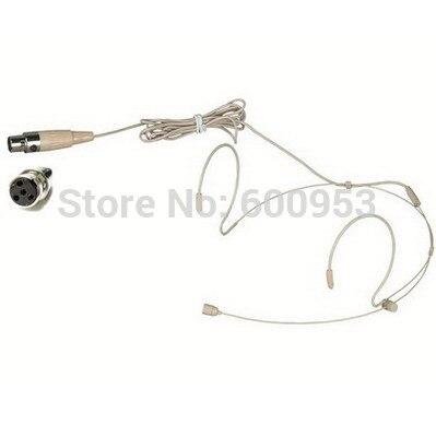 High Qulity Beige Dual Hook Mic Headset Headworn Headphone Microphone 4Pin XLR Mini FOR Shure PGX SLX ULX ...
