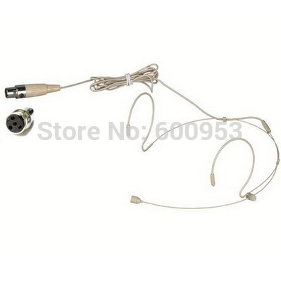 High Qulity Beige Dual Hook Mic Headset Headworn Headphone