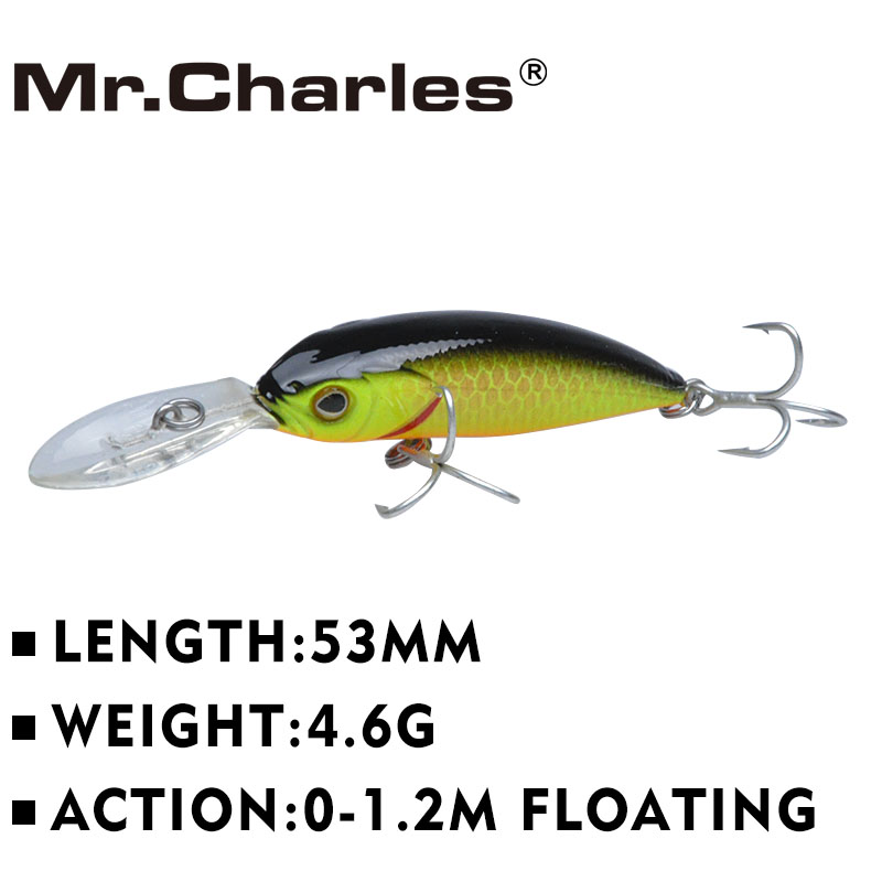 Mr.Charles  MR081 1 Pcs Good Fishing Lures ,53mm/4.6g Quality Professional Minnow Hard Baits 0-1.2m Floating 3Deye рыболовный поплавок night fishing king 1012100014 mr 002
