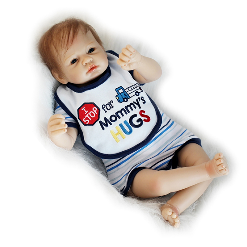 Real Lifelike Reborn Baby Boy 22 Inch Realistic Silicone Babies Doll Handmade Cloth Body Dolls Toy With Mohair Kids Playmate