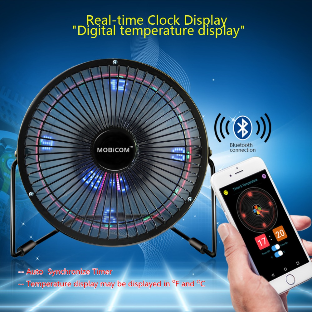 USB Fan Bluetooth APP Texts Clock Temperature Pictures Full Color LED Display Fan USB Gadgets image