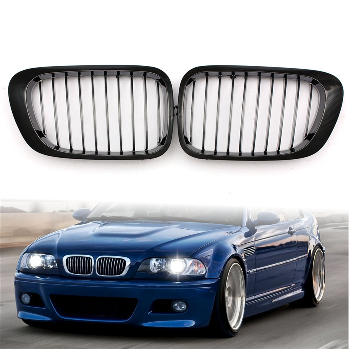 Pair Gloss Black Front Kidney Grill Grille for BMW E46 3-Series 325Ci 330Ci 323Ci 328Ci Car Racing Grills possbay matte black front center grille grilles for bmw 3 series e46 325ci 330cd 330ci m3 csl cabrio cabrio 2003 2006 facelift