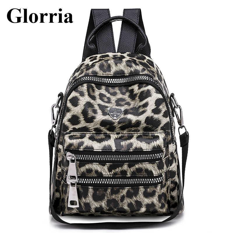 Glorria Designer Bags Famous Brand Women Leather Backpack 2019 Leopard  Bagpacks For Teenager Girls School Bag 9bd6721dd8684