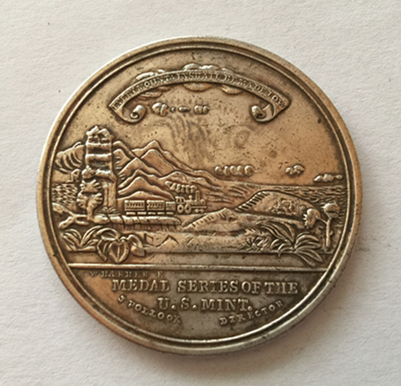 1869 OCEANS UNITED BY RAILWAY Rare SILVER US MINT Medal 1 of JUST 126 STRUCK