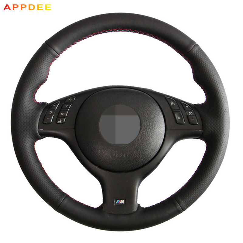 APPDEE Black Genuine Leather Car Steering Wheel Cover for BMW E46 E39 330i 540i 525i 530i 330Ci M3 2001-2003APPDEE Black Genuine Leather Car Steering Wheel Cover for BMW E46 E39 330i 540i 525i 530i 330Ci M3 2001-2003