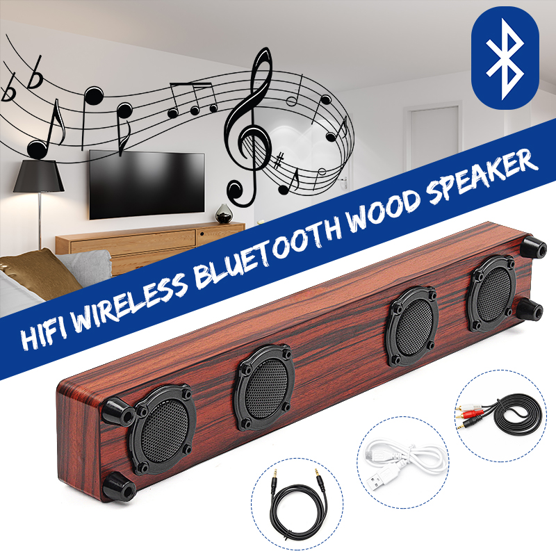 Wooden Wireless Bluetooth Speaker Portable Bluetooth V4.0 Speaker Soundbar Loudspeaker Music System Stereo With 2 Bass For TV PC