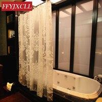 2016 White Flowers EVA Europe Shower Curtain Waterproof Mildew Bathroom Curtain Customized Size With Hooks