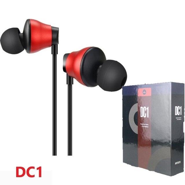 Artista DC1 dinámico y de cerámica en la oreja los auriculares dual-Unidad de Música de alta fidelidad y monitor de auriculares estéreo de 3,5mm con micrófono interno