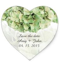 1.5inch Green hydrangea wedding favor tags hydrangea2 heart sticker