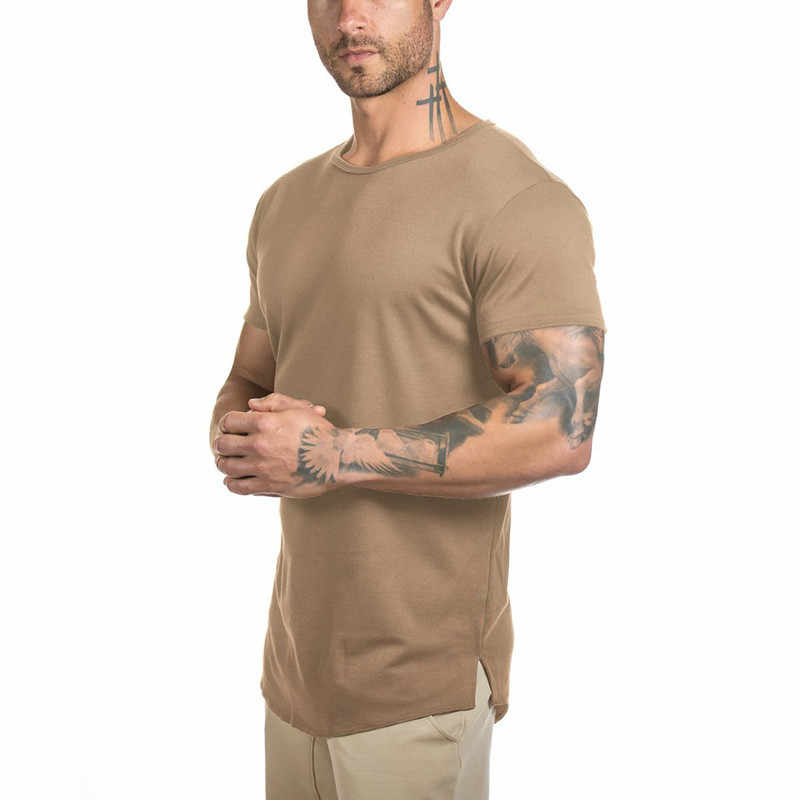 91cee922d Mens Gyms Muscle T Shirt Fitness Bodybuilding Workout Curved Hem Short  Sleeve Longline Hip Hop 2018